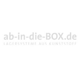 Rollerständer mit 15 offene blauen Standard Transportrollern mit 4 Gummilenkrollen RS64-15-00-B-TO64-GL-02-20